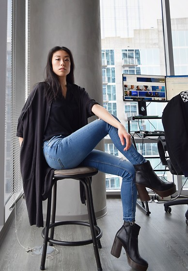 Gi Shieh - Urban Outfitters Black Shirt Dress, Forever 21 Black Sleeveless Blouse, H&M Distressed Blue Jeans, Aldo Black Platform Boots - Go-To Black Top + Blue Jeans because Y Not 💁