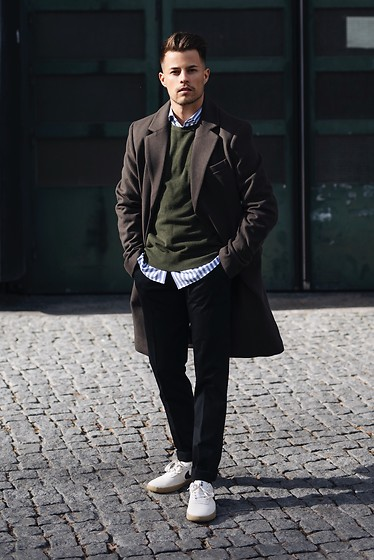Kevin Elezaj - Nike Sneakers, Filippa K Pants, Hugo Boss Shirt, J. Crew Sweater, Topman Coat - Bye winter
