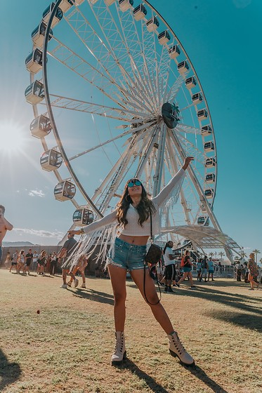 Laura Reynoso - Revolve Top, Lovers + Friends Shorts, Dr. Martens Boots - Cochella Day 1