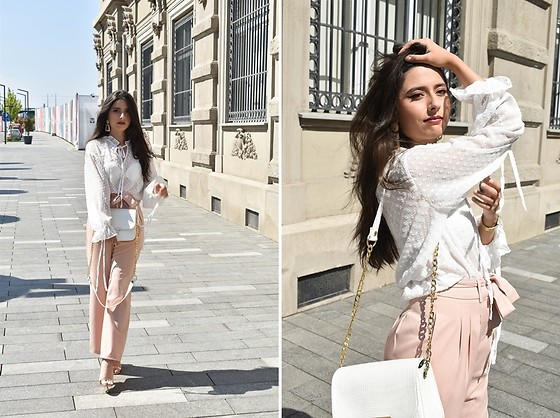"Jelena Dimić - Shein Sheer Polka Dot Blouse, Womensecret White Lace Bra, Ebay Gold Statement Earrings, Shein Blush Pink Trousers, Cocopat Shoulder Bag ""Una"", Pinkbasis Rose Gold Sandals - You're the medicine and the pain"