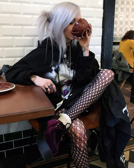 Kimi Peri - Patterned Tights, Vintage Purple Glasses, T.U.K. Footwear Purple Velvet Creepers, Primark Frilly Socks, Solrayz Moonstone Necklace, Choker, 51percent Vapor Hoodie, Rogue + Wolf Ring Of Submission - Sunday Coffee