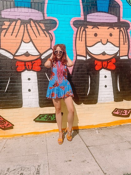 Ramsey Wild - Free People Tunic, Forever 21 Yellow Heels, Sun Glasses, Beaded Necklace - Hear No Evil 🙉