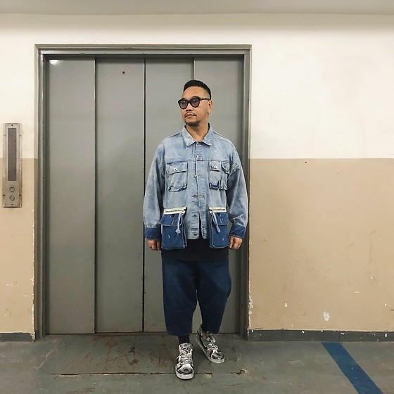 Mannix Lo - No Brand Patchwork Denim Jacket, Maple Denim Cropped Pants, Vans Customised Sk8 Hi Sneakers, Cotton On Print Tee - You take me to another level of happiness