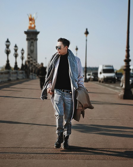 Charles Sumithio - Gucci Sacrves, Zara Tartan Pants, Zara Turtle Neck Sweater, Fendi Sungalsses - A day well spent in Paris !