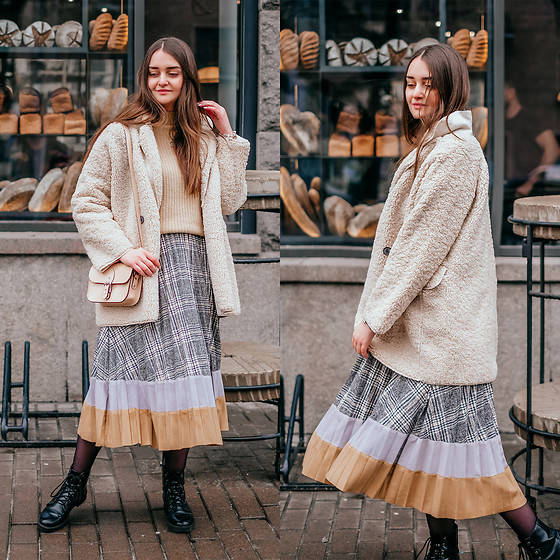 Christina & Karina Vartanovy - Chic Wish Out With A Sherpa Coat In Ivory, Chic Wish Mellow Diamond Knit Sweater In Mustard, Chic Wish Between Us Pleated Midi Skirt, The Leather Satchel Hipster Nude Bag, Bershka Black Lace Up Ankle Boots - Karina // latch