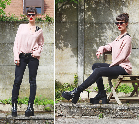♡Nelly Kitty♡ - H&M Nude Pink Knitted Sweater, Asos Black Faux Leather Platform Boots, Camaieu Cat Eyes Sun Glasses - OOTD#68
