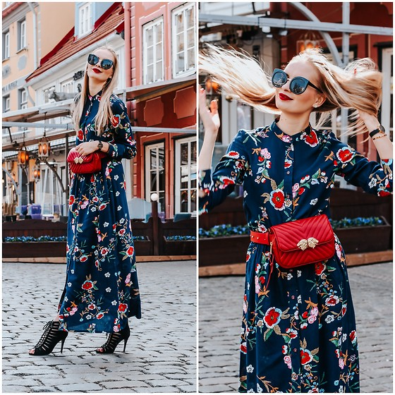 Madara L - Maxi Floral Shirt Dress, Zara Red Belt Bag, Quiz Clothing Black Strappy Heels - Maxi shirt dress
