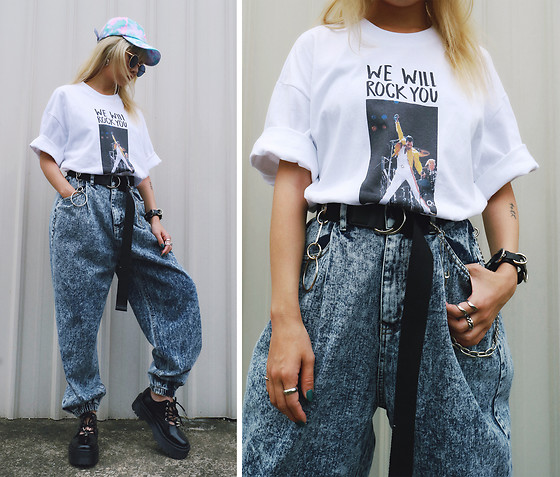 Vita Chen - Vii & Co. Graphic Tee, Vii & Co. Chain Piercing Canvas Belt, Vii & Co. Acid Wash Denim Joggers, Vii & Co. Rivet Cutout Platform Creepers, Vii & Co. Pastel Tie Dye Cap - ROCK YOU