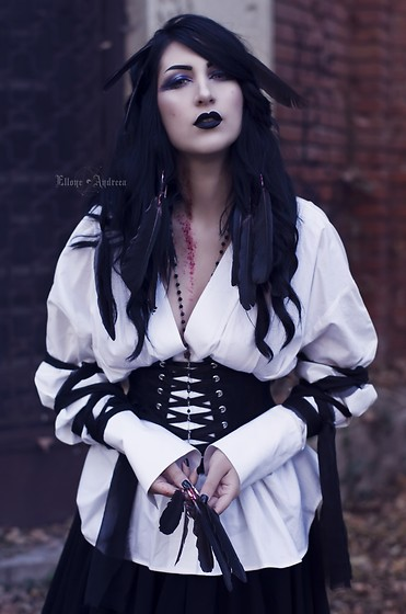 Ellone Andreea - Rosary, H&M Puffy Sleeve Shirt, E&L By Lundqvist Corset, Diy Black Maxi Skirt - Whisperer