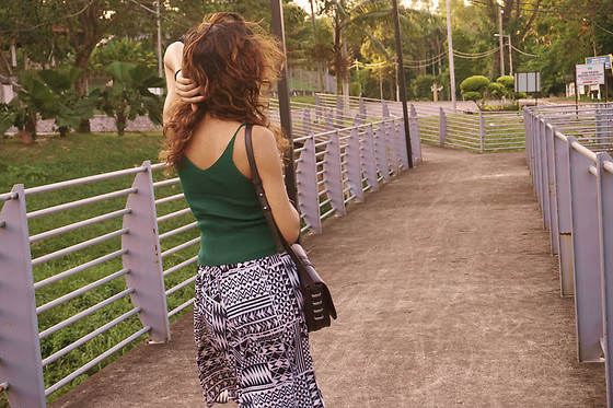 Shanaz AL - Last Year's Dyed Curly Locks, Green Cami Knit Top, Something Borrrowed Black Sling Bag, Thrifted Flowy Culottes - In Abstract