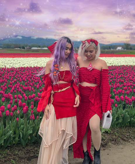 Sera Brand - Follow Me On Instagram!, Stardust Bohemian Serenity Bandeau In Red, Free People Tulle Skirt - Sera Stardust x Made with Joy