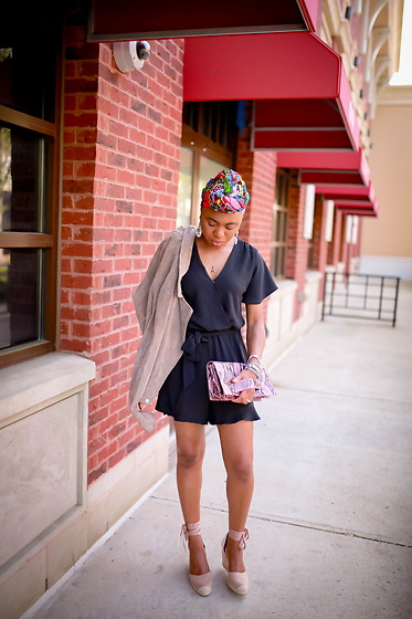 Louisa Moje - (Similar) Tan Moto Jacket, (Exact) Black Dress Romper, (Similar) Snake Animal Print Purse, (Exact) Layered Wrap Bracelet, (Exact) Tan Platform Wedge Espadrilles (On Sale), (Similar) Multicolored Head Wrap Turban - 3 Ways to Wear a Dressy Romper This Summer