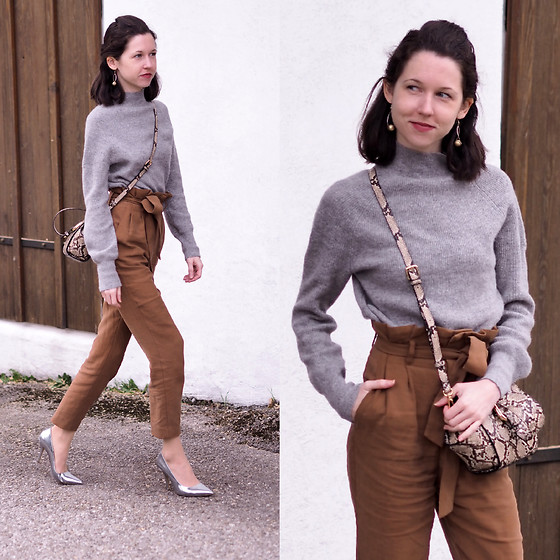 Claire H - H&M Grey Cashmere Knit, H&M Brown Paper Bag Pants, Mango Mini Bag, Högl Silver Patent Heels - Neutral vibes