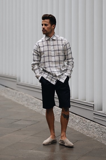 Kevin Elezaj - Selected Homme Espadrilles, Tiger Of Sweden Shorts, Asos Shirt - Patterned