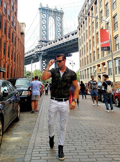 Alexander Renzl - Zeus Black Boots, Pepe Jeans Black Belts, 17 Avenue White Ripped Jeans, Loft Camouflage Shirt, Baldessarini Watch - Brooklyn