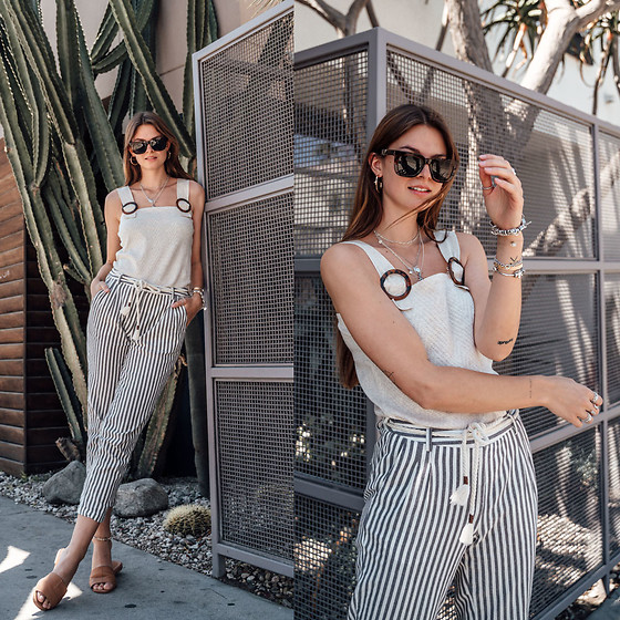 Jacky - Yargici Top, Yargici Pants, Flattered Sandals, Mr Boho Sunglasses - How to combine striped pants in spring and summer