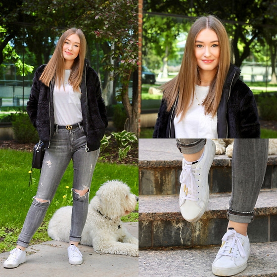 Taylor Doucette - Forever 21 Fur Bomber, Kotn White Tee, Adidas White Sneakers, Citizens Of Humanity Grey Jeans, Gucci Skinny Belt - Feels Like This - Maisie Peters