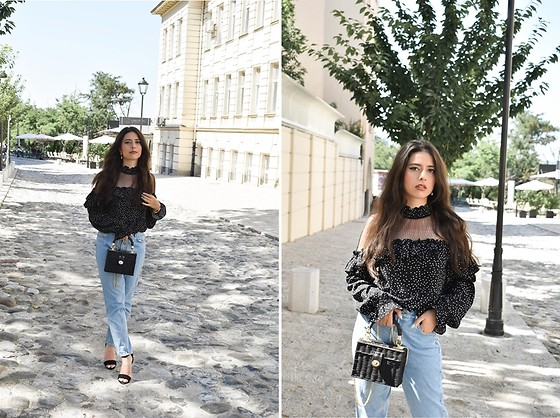 Jelena Dimić - Shein Polka Dot Mesh Blouse, Zara Bag, Zara High Waist Jeans, Amiclubwear Sandals - You're the one I'll roll the dice on