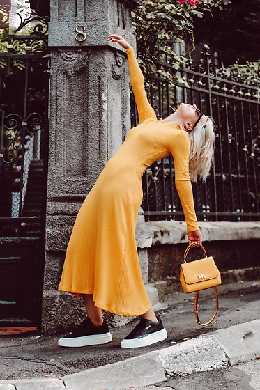 Vlada Avornic - Zara Dress, Adidas Sneakers, Michael Kors Bag - Yellow is the new black