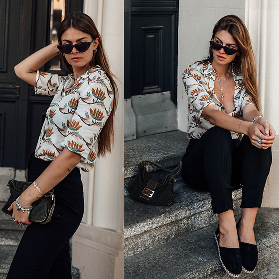 Jacky - Anonyme Designer Shirt, H&M Pants, Verbenas Espadrilles, Fendi Bag, Chimi Eyewear Sunglasses - Casual Outfit: black pants and shirt with floral print