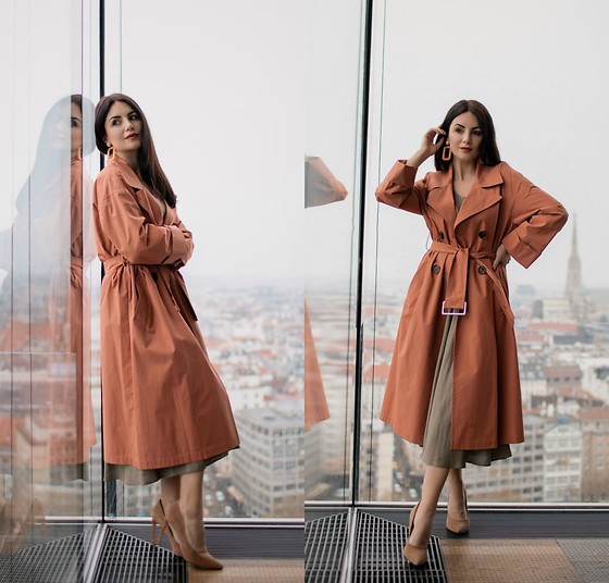 Edisa Shahini - Zara Trench, Zara Skirt, Sergio Rossi Shoes - TRENCH