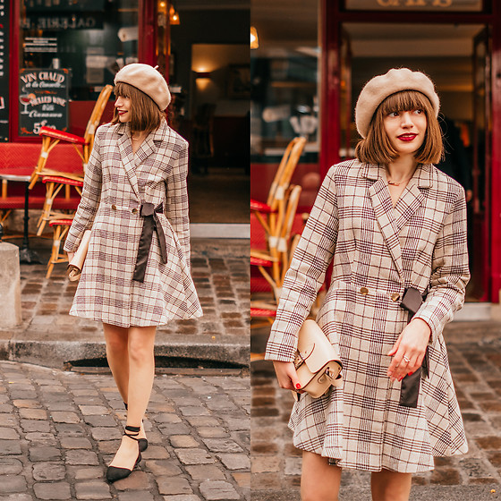 Christina & Karina Vartanovy - Newchic Wool Beret In Beige, Chic Wish Prepared For A Date Plaid Coat Dress, The Leather Satchel Hipster Nude Bag, Rosewholesale Lace Up Black Flat Shoes - Christina // très français