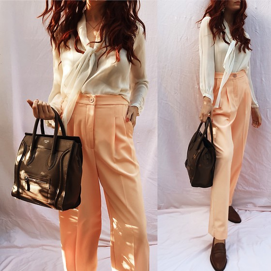 Natalie Jane - Carlson Peach Pleat Pant, Carlson Ivory Pussy Now Blouse, L.K Bennett Loafers - Peach lovers