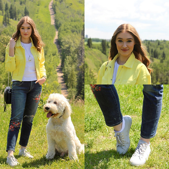 Taylor Doucette - Zara Yellow Denim Jacket, Citizens Of Humanity Embroidered Boyfriend Jeans, Converse Mono Glam - Falling For Boys - Julia Michaels