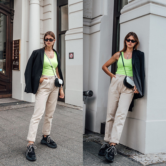 Jacky - Pilgrim Sunglasses, Zara Blazer, Minimum Top, American Vintage Pants, Ted Baker Bag, Balenciaga Sneakers - How to style a neon top