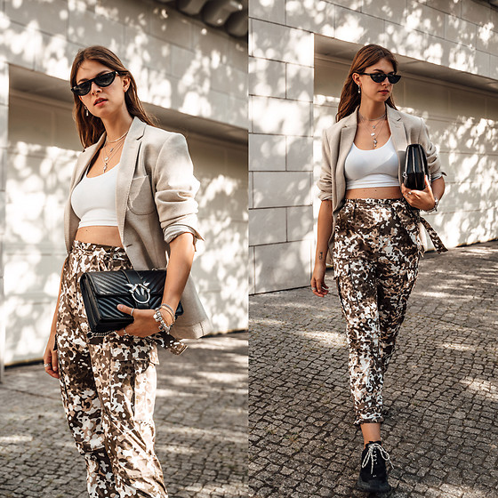 Jacky - Pilgrim Sunglasses, Gant Blazer, American Apparel Crop Top, Pinko Bag, Pinko Pants, Balenciaga Sneakers - Camouflage Pants combined with Boyfriend Blazer