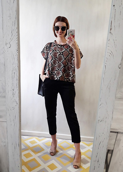 Malinina-ek - - Femmeluxefinery Top, Femmeluxefinery Pants - Snake and black