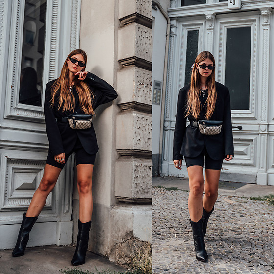 Jacky - Zara Blazer, Asos Cycling Shorts, Fendi Boots, Pilgrim Sunglasses, Gucci Belt Bag - Combining Cycling Shorts with a Boyfriend Blazer