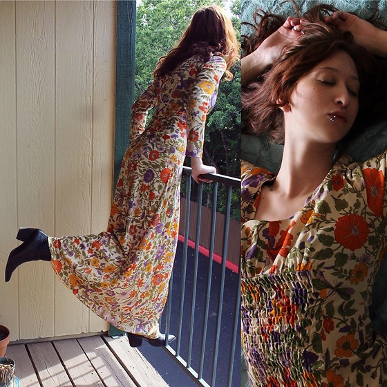 "Michelle Blue - Vintage Floral Dress, Matisse Vegan Leather Boots - ""O-Ophelia"""
