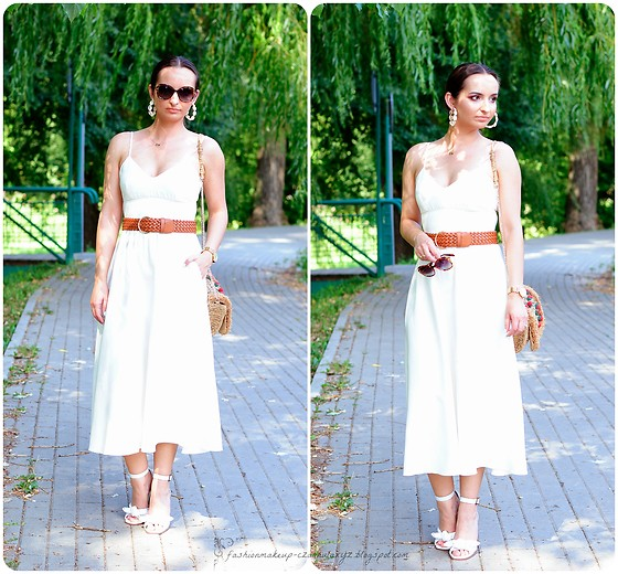 Natalia Uliasz - Vision Express Sunglasses, Stradivarius Earrings, Zara Dress, H&M Belt, Zara Bag, Reserved White Sandals - Wracam do blogowania!! :)