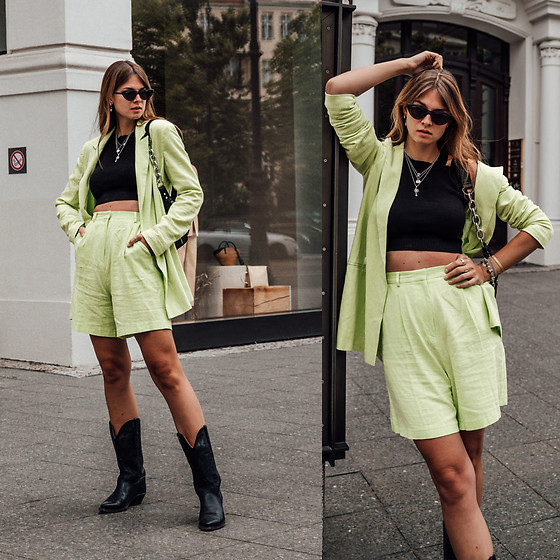 Jacky - Asos Suit, Noisy May Crop Top, Berska Belt Bag, Black Palms The Label Boots - How to wear a neon green suit