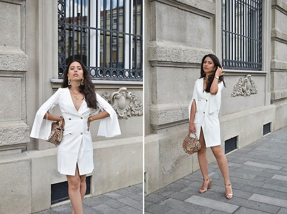 Jelena Dimić - Shein White Blazer Dress, Ebay Earrings, Ebay Bamboo Initial Necklace, Rosefield Watch, Cocopat Leopard Bag, Pinkbasis Sandals - There's fire where my heart should be