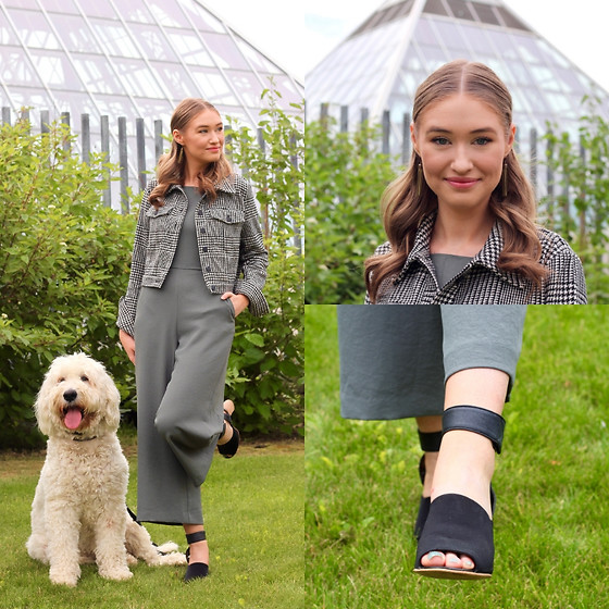 Taylor Doucette - Aritzia Wide Leg Jumpsuit, Steve Madden Black Block Heels, Forever 21 Houndstooth Cropped Jacket - Pink Motel - The Glorious Sons