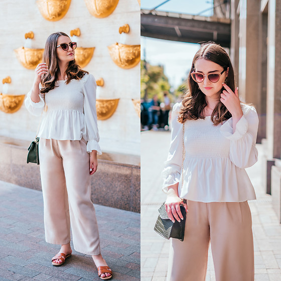 Christina & Karina Vartanovy - Chic Wish Shirred Chiffon Top In White, Chic Wish Belted Wide Leg Pants In Beige, Newchic Crocodile Pattern Chain Cross Body Bag, New Look Cross Strap Flat Slider Sandal In Tan - Karina // Summer Girl