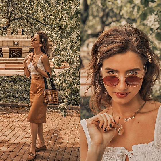 Natasha Karpova - Hairclips, H&M Necklace, Lefties Loafers, Sunglasses, Morgan Lace Cotton Crop Top, Midi Skirt, Picnic Bag - BLOOMING GARDEN
