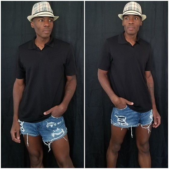 Thomas G - Abercrombie & Fitch Distressed Denim Cutoff Shorts, Claiborne Polo Shirt, Fedora Short Brim Trilby Geometric - Fedora + Polo shirt + Cutoff denim shorts