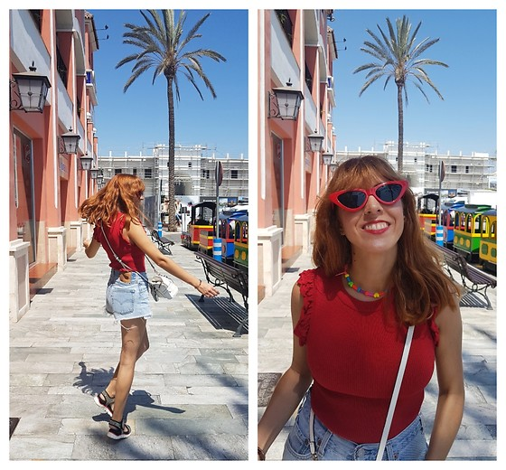 Mi Vida En Rojo - Stradivarius Top, Levi's 501 Vintage Shorts, Zara Sunnies - Summer is a state of life