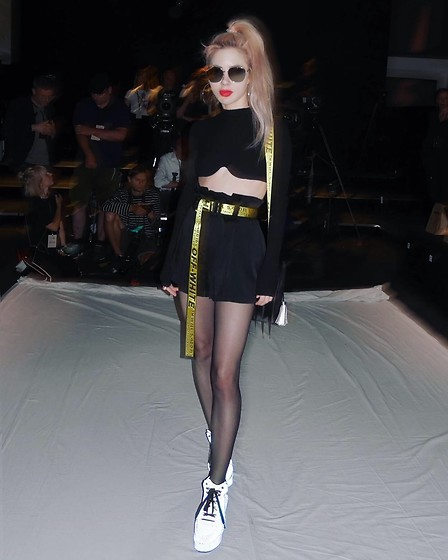 Emmalynn V - Yru Reflective Sneakers, Off White Off White Industrial Belt, Are You Am I Ayai Rika Crop Top, Gentle Monster Double Bread Sunglasses - Fashion Week, Berlin