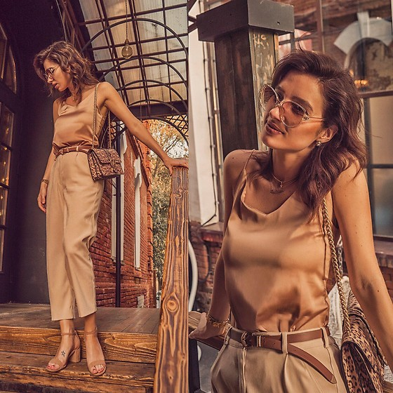 Natasha Karpova - Pinko Leopard Bag, Silk Cami Top, Beige Sandals, Trousers, Sunglasses, Belt - MY TOTAL BEIGE
