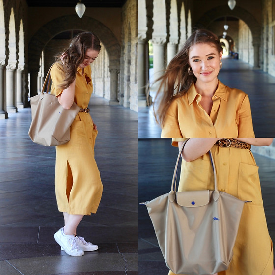Taylor Doucette - Aritzia Mustard Yellow Shirt Dress, Longchamp Le Pliage Tote, Zara Cheetah Print Belt, Adidas White Leather Sneakers - July - Noah Cyrus