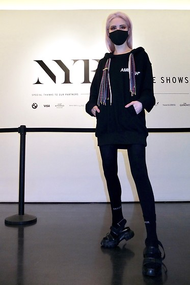 Emmalynn V - Jessica Buurman Sandals, Ambush Hooded Sweatshirt - NYFW New York Fashion Week