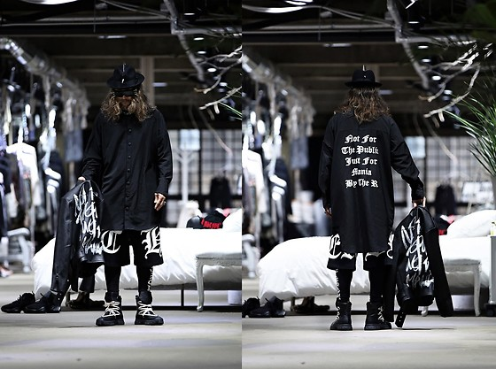 INWON LEE - Byther Slogan Print Snap Long Shirt, Byther Shorts, Byther Tights - Long Dress Shirt