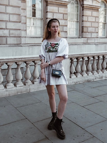 Bec Oakes - Babydoll Dress, Metallic Mini Bag, Platform Boots, Braided Headband - London Fashion Week