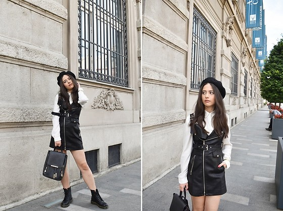 Jelena Dimić - H&M Beret, United Colors Of Benetton White Shirt, Shein Faux Leather Dress, Dr. Martens Combat Boots - I need you more than I want to