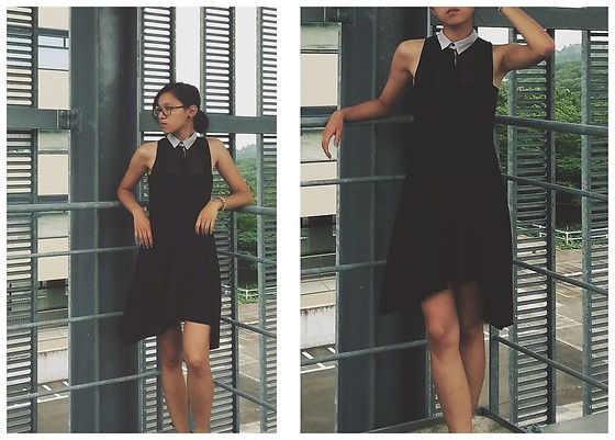 Tram Anh - Zalando See Through Blouse, American Apparel Dress, Michael Kors Glasses - Steel and Humidity