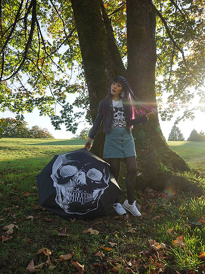 La Carmina - LaCarmina.com - Raven Goods Skull Umbrella, 1991newyork Hannya Japanese Demon T Shirt, Lola Ramona White Sneakers Serena Bullseye, Uk Tights Black With Symbols, Forest Ink Blue Corduroy Button Down Skirt - How to style white sneakers, fall autumn Halloween outfit!